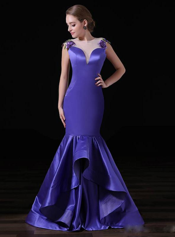 Purple Satin Prom Dress