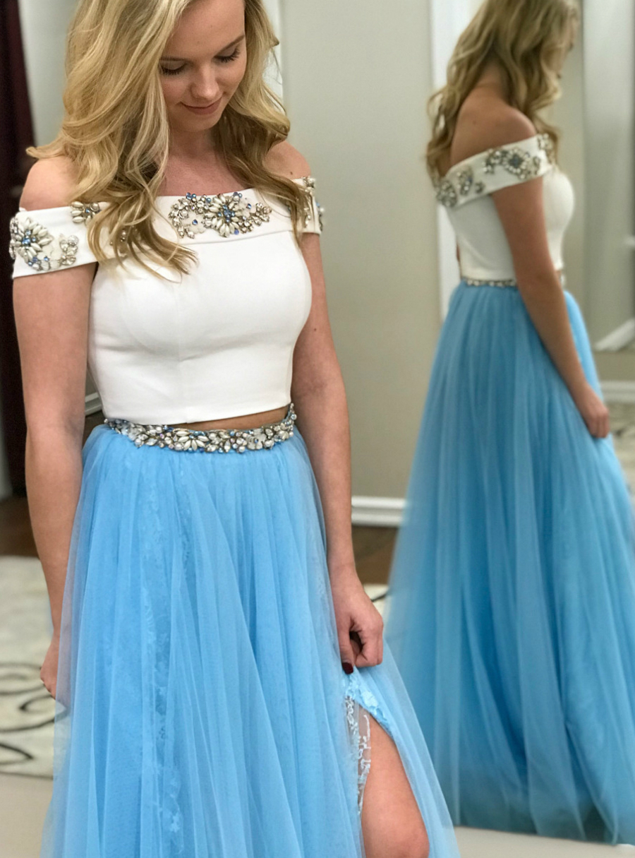 Two Piece Off the Shoulder White and Blue Tulle Prom Dress with Side ...