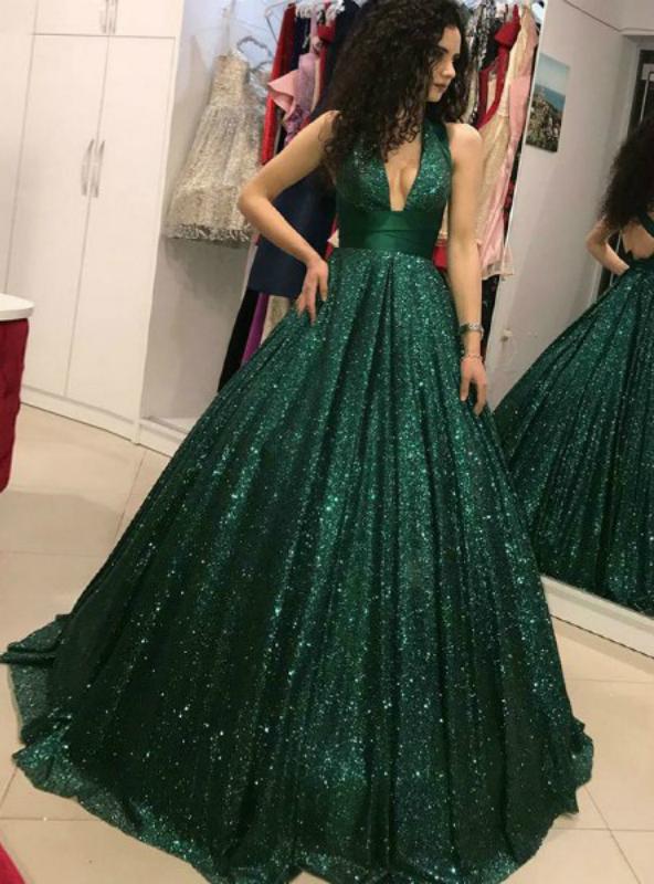 A-Line V-Neck Open Back Dark Green Sequin Prom Dress