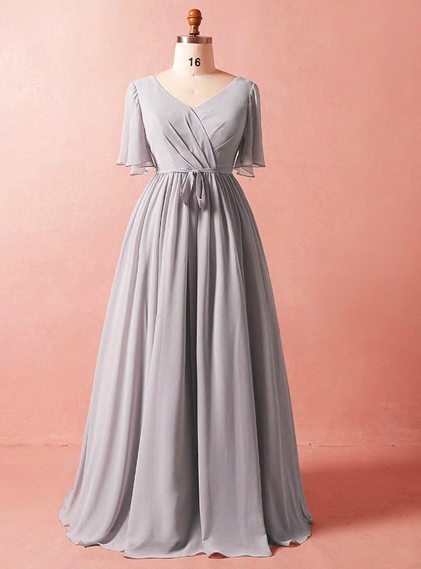 Gray Chiffon Prom Gowns
