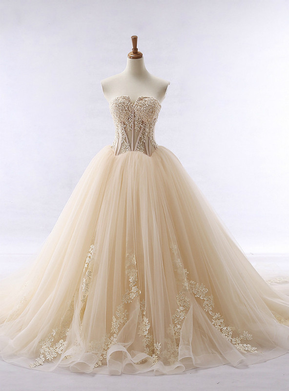 Lace applique champagne tulle sweetheart neckline wedding dress junglespirit Images