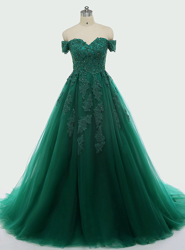 Dark Green Lace Appliques Short Sleeve Ball Gown For 15 Quinceanera ...