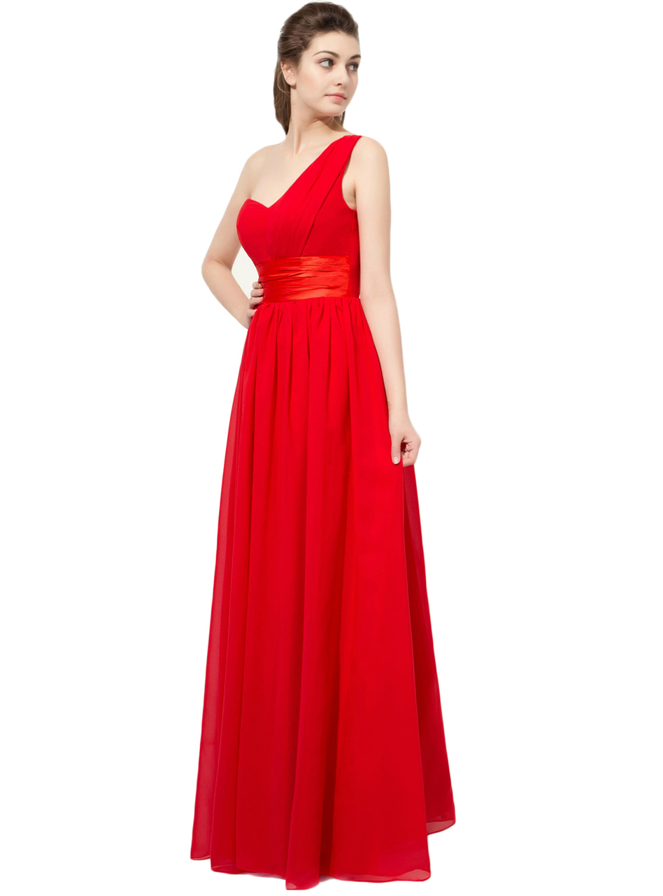 Red One Shoulder Chiffon Bridesmaid Dress