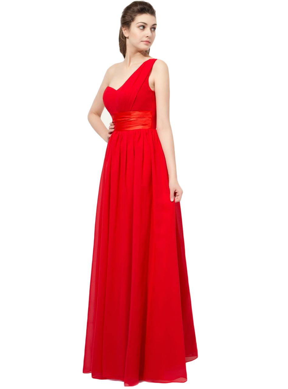 Red One Shoulder Chiffon Bridesmaid Dress