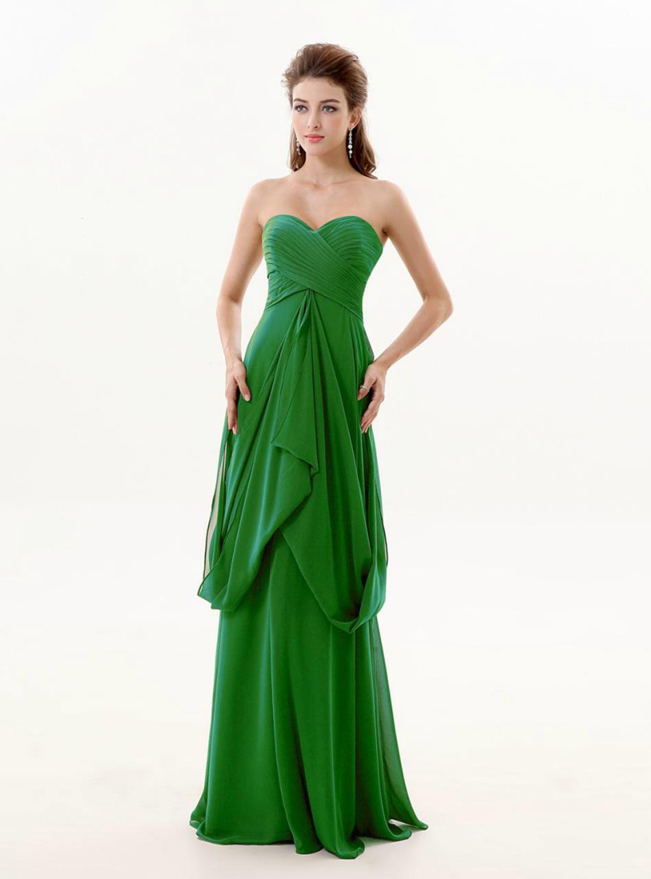 Green Chiffon Sweetheart Dress