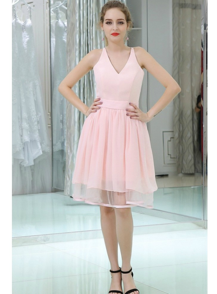 Knee Length V Neck Chiffon Pink With Lace Back Homecoming Dress