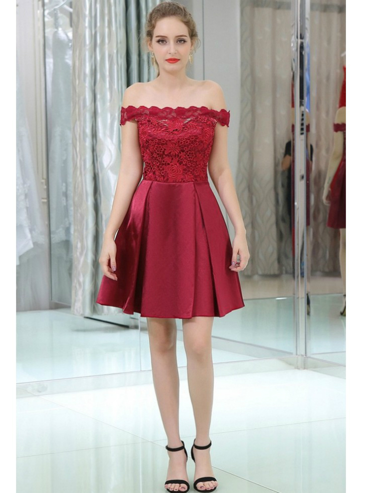Off The Shoulder Burgundy Lace Satin Cocktail Dress