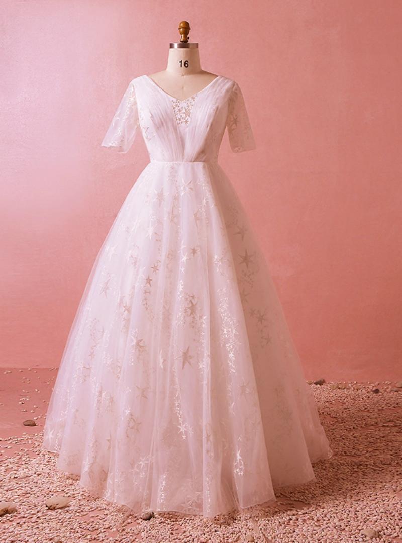 Plus Size White Short Sleeve V-neck Train Tulle Lace Wedding Dress