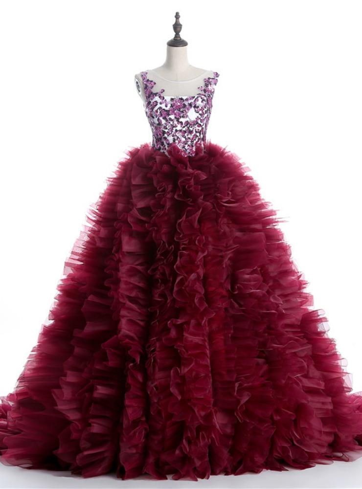 Burgundy Ball Gown Ruffles Beading Crystal Wedding Dress