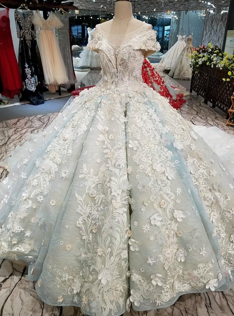 Blue Ball Gown Scoop Cap Sleeve Long Train Wedding Dress
