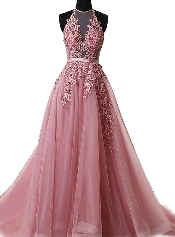 A-Line Pink Halter Sleeveless Applique Tulle Prom Dress