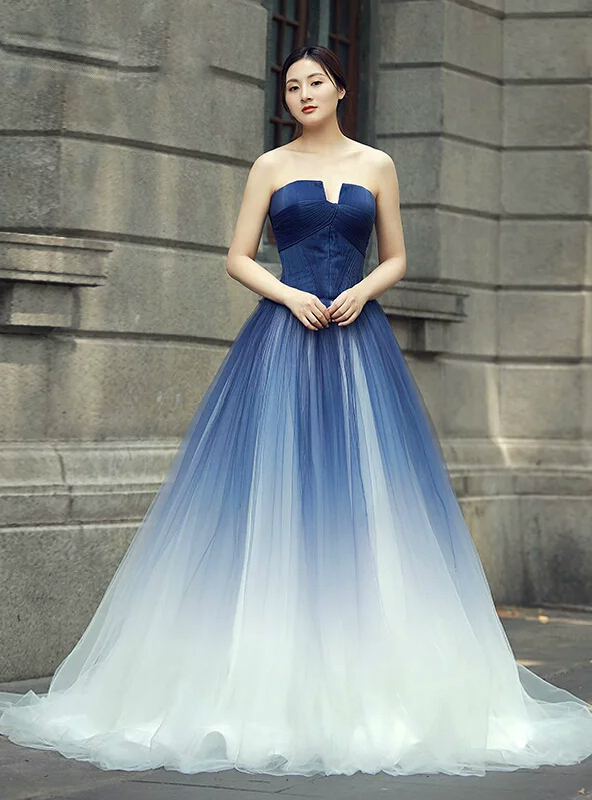 Blue White Tulle Strapless Backless Sleeveless Floor Length Wedding ...