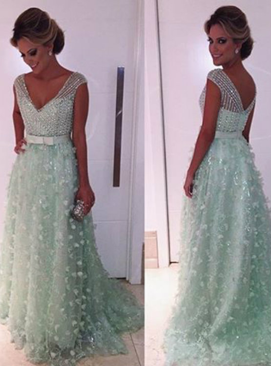 Mint Green Prom Dress Ball Gown Prom Dress Princess Prom Gown Beaded ...