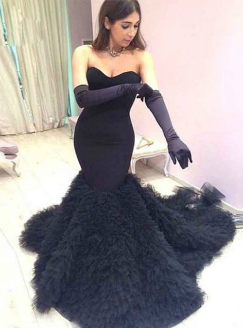 Sweetheart Black Mermaid Wedding Dresses Tulle Elegant
