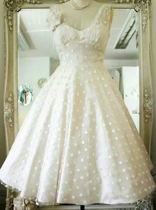 Vintage Polka Dots Tea Length V Neck Backless Wedding Dress