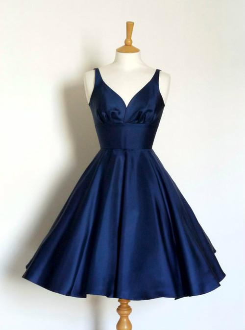 Navy Blue Short Fashion Party Dress V Neck A Line Prom