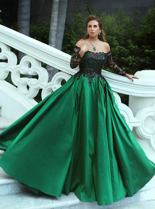 Off the Shoulder Green Satin Prom Ball Gowns with Black