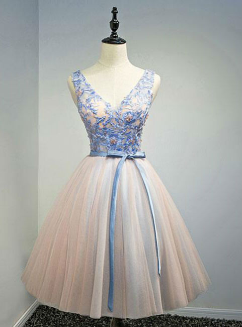 HOMECOMING DRESS PINK V NECK TULLE LACE APPLIQUES SHORT PROM DRESS