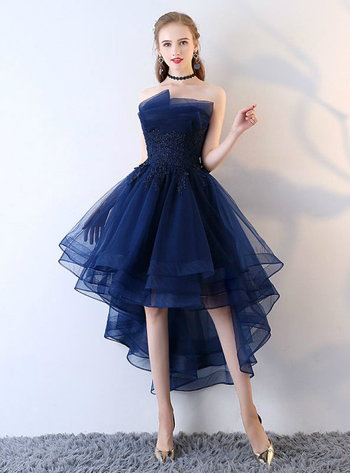 Applique Backless Junior School Dress High Low Homecoming