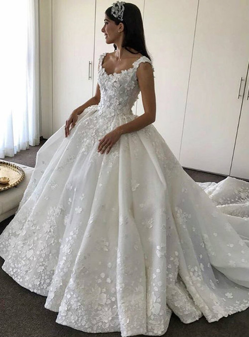 Bridal Dresses Lace Flowers Appliques Wedding Dresses