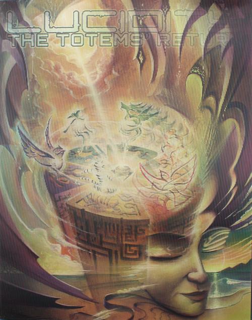 Custom hologram shifting through 16 transformations of: Michael Divine's 'The Totems' Return'.