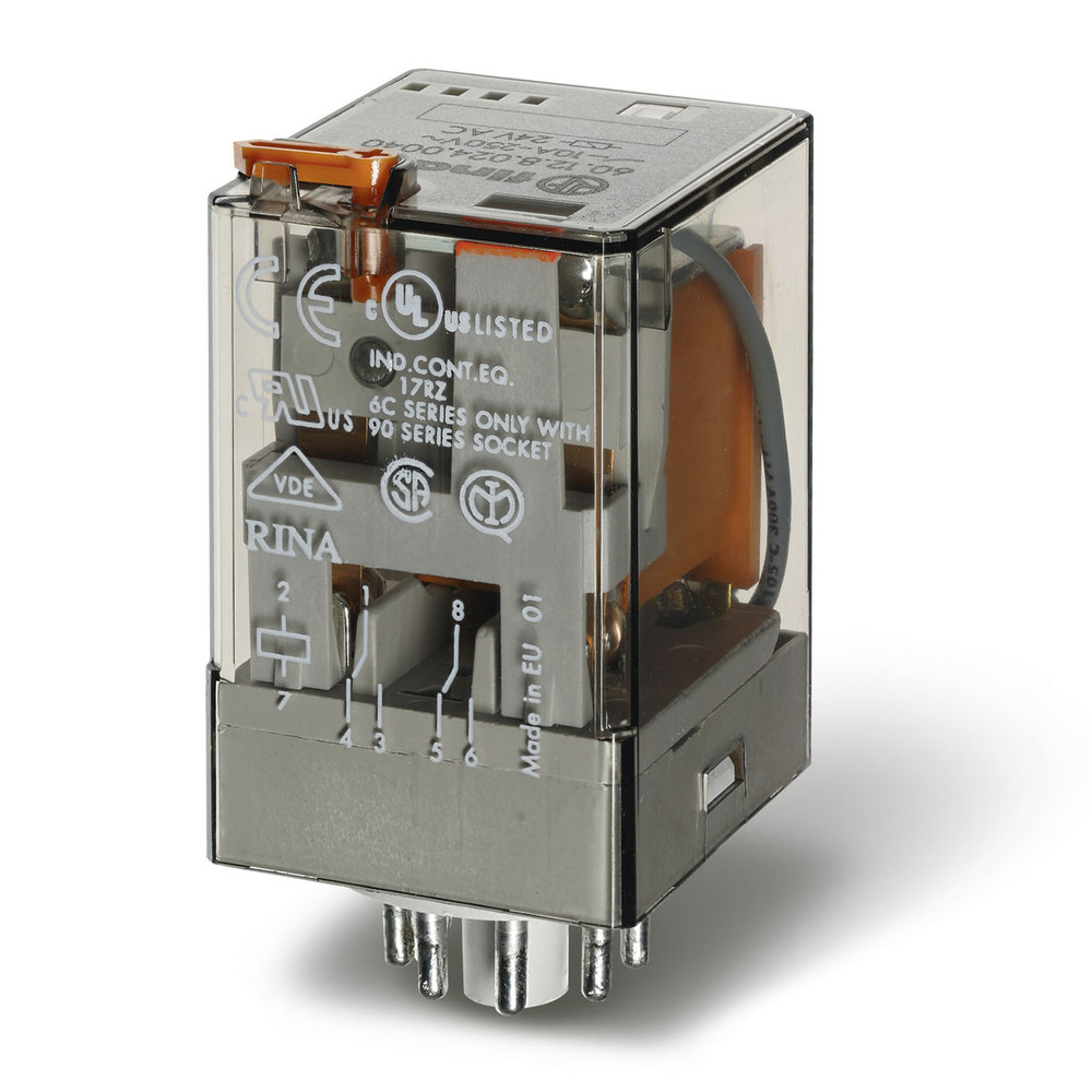 FINDER 60 Series 2Pole 8Pin 10Amp 24V AC Relay