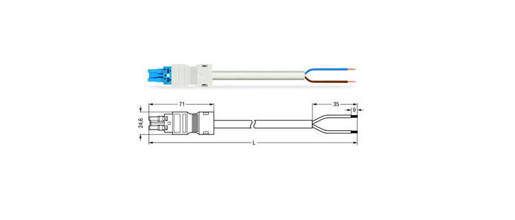 Wago WINSTA® MIDI 2 Pole Cable assembly Socket to Free End for Dali. Halogen free 2 x 1.5mm² cable 16Amp/250V Rating. White Cable, Blue Socket. Marked DA+ DA-. Box Qty 10.