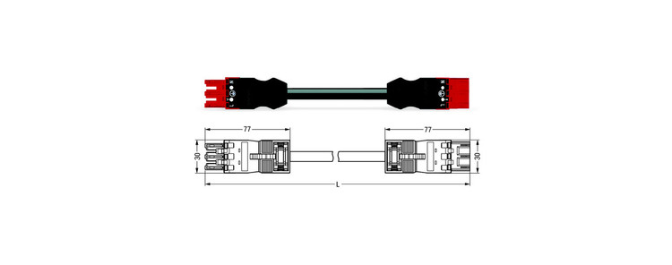 Wago WINSTA® MIDI 3 Pole Cable assembly Plug to Socket for Dali. Halogen free 3 x 1.5mm² cable 16Amp/250V Rating. Black Cable, Red Socket & Plug. Marked L E N. Box Qty 10.