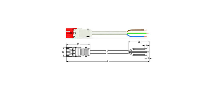 Wago WINSTA® MIDI 3 Pole Cable assembly Plug to Free End. Halogen free 3 x 1.5mm² cable 16Amp/250V Rating. White Cable & Red Plug. Marked L E N. Box Qty 10.