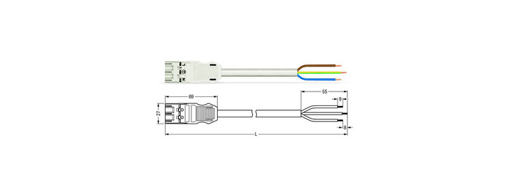 Wago WINSTA® MIDI 3 Pole Cable assembly Plug to Free End. Halogen free 3 x 1.5mm² cable 16Amp/250V Rating. White Cable & Plug. Marked L E N. Box Qty 10
