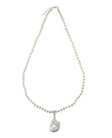 White Fireball Baroque Pearl Pendant on White Round Pearl Necklace