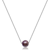 Lustrous Rainbow Moving Baroque Pearl Pendant Silver Chain Necklace