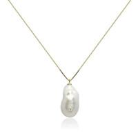 White Baroque Pearl Pendant with Diamond/CZ Studs