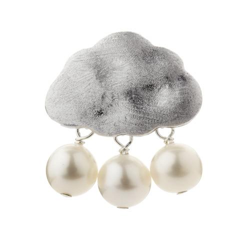 Silver Rain Cloud White Pearl Pendant
