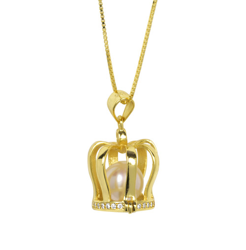 Encased White Pearl in the 18 ct. Gold  Plated Crown Pendant Necklace
