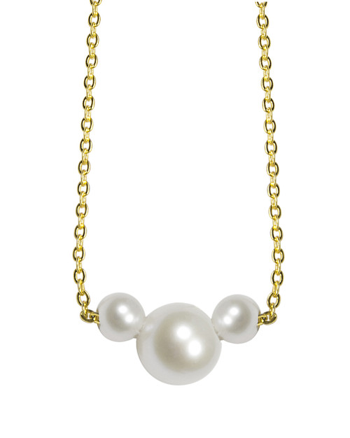Minnie Mouse White Pearl Pendant in 18 ct. Yellow Gold Plated Silver