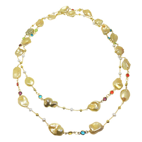 Golden Keshi Pearl Long Necklace with Multicolour Gems
