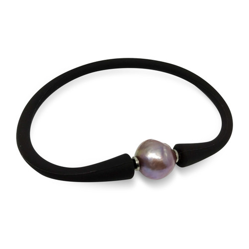 Lustrous Rainbow 'Violet Purple' Baroque Pearl on Leather Bracelet