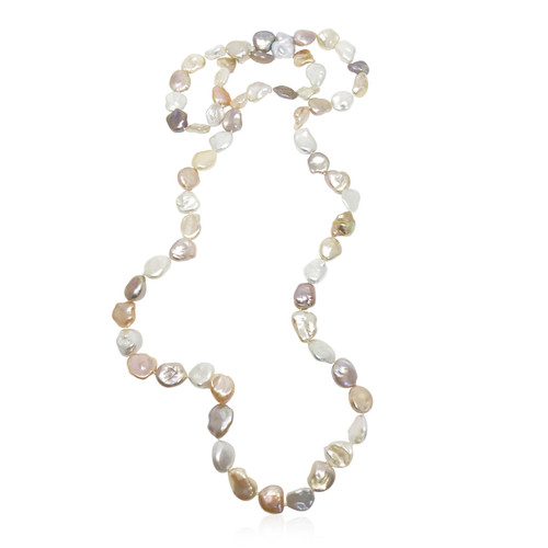 Keshi Pearl Long Necklace - Multicolour