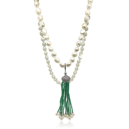 White Pearl Long Necklace with Green Emerald Tassels