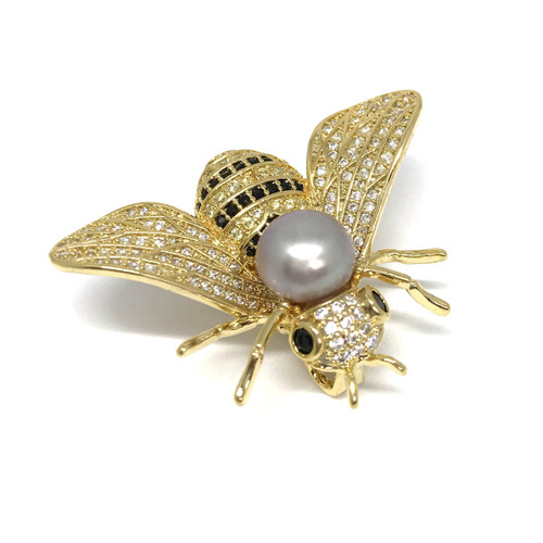 Bee and Lilac Pearl Brooch