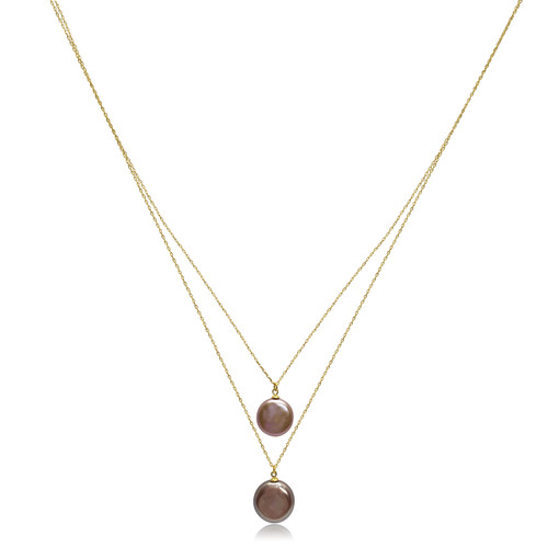 Double 'Lustrous Rainbow' Coin Pearls Gold Necklace