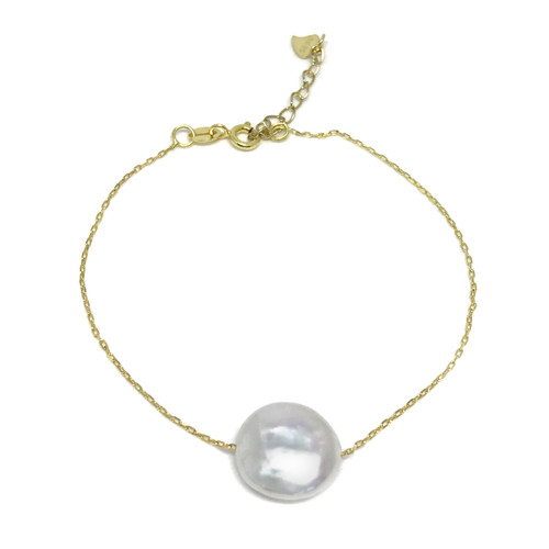 White Coin Pearl Floating Gold Bracelet