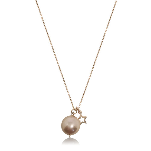 Lustrous Rose Pearl with Open Star Rose Gold Pendant Necklace