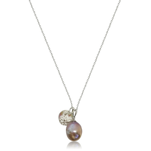 Lustrous Rainbow Baroque Pearl with Sterling Silver Lotus Flower Coin Charm