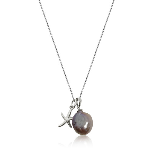 Lustrous Rainbow Baroque Pearl with Sterling Silver Starfish Charm Pendant Necklace