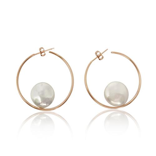 White Coin Pearls Rose Gold Hoop Earrings