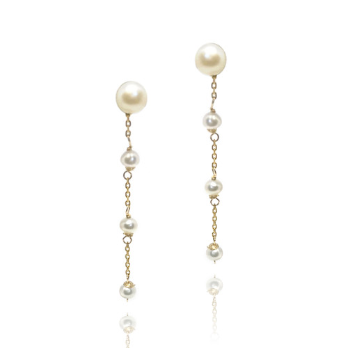 Pearl Stud and Drop Earrings in Gold