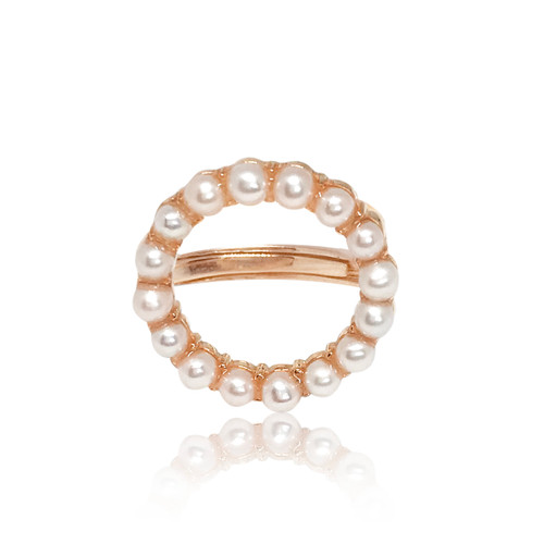 'Circle of Life' Adjustable White Pearl Ring