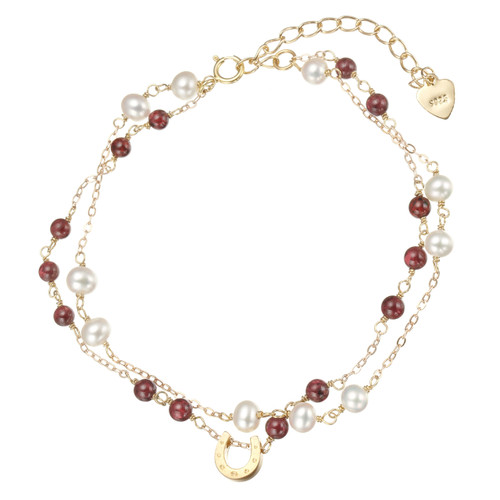 double strand white seed pearls and garnet bracelet with horse shoe pendant